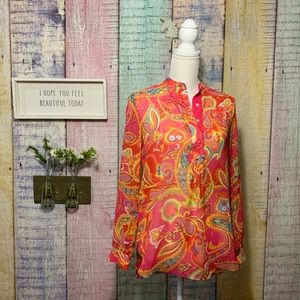 Collar button down long sleeve paisley work shirt